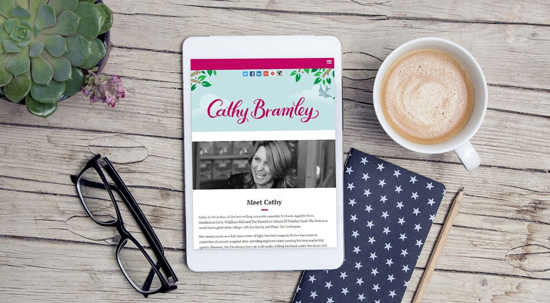 Cathy Bramley website on tablet