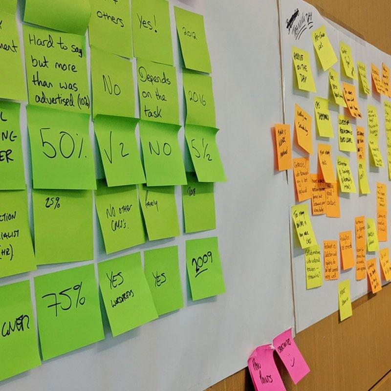 Post-it notes at a Service Design workshop