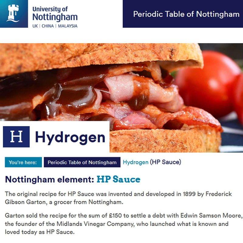 HP Sauce / Hydrogen elements page