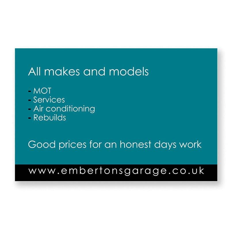 Emberton's Garage business card back