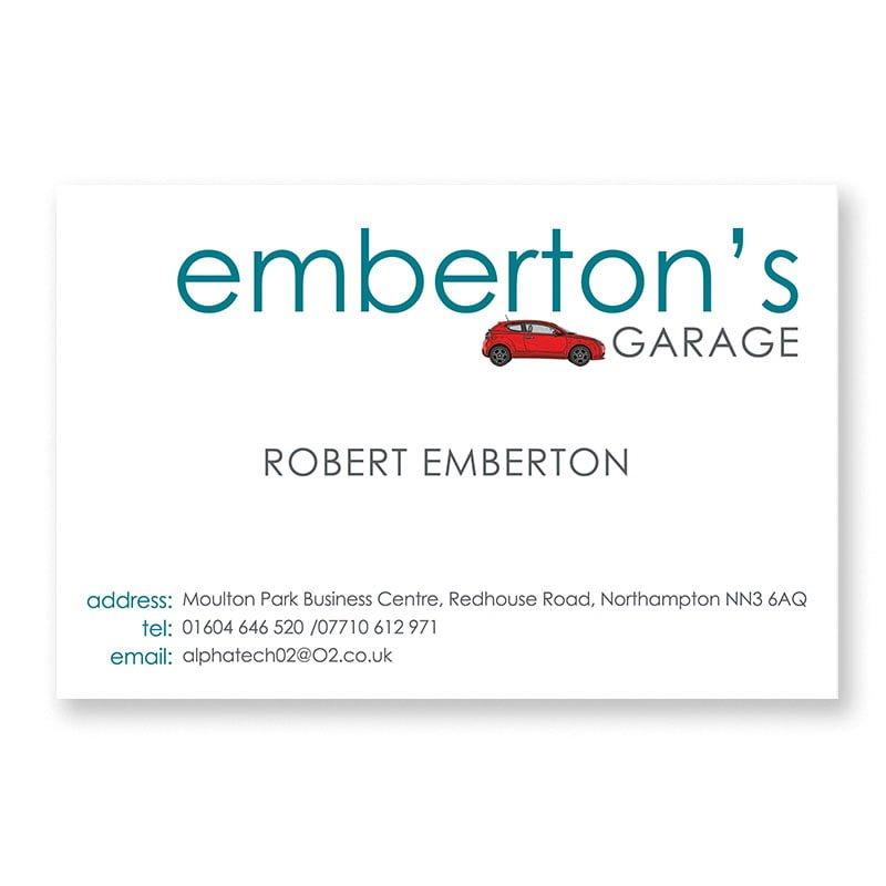 Emberton's Garage business card front