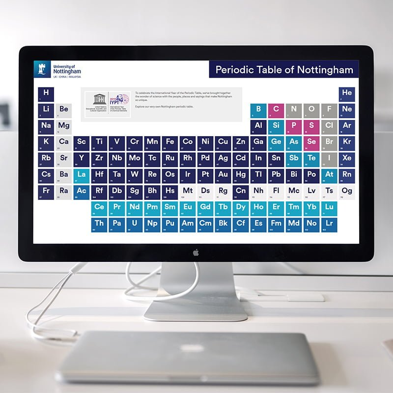 View of the Nottingham Periodic Table on a desktop computer