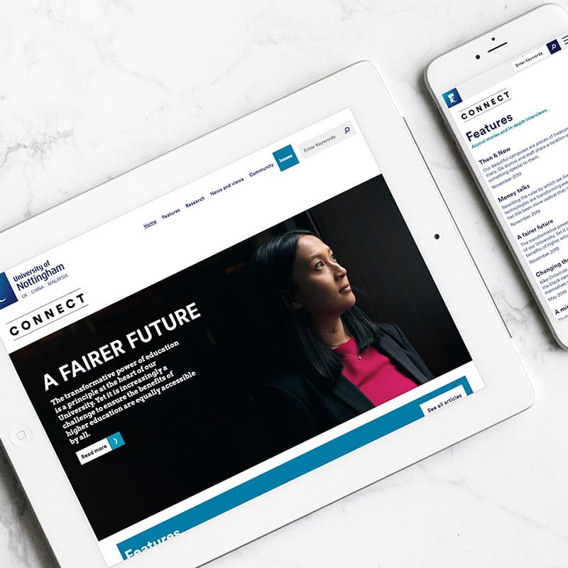The University of Nottingham's Connect Online magazine on tablet and mobile